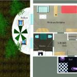 Grundriss einer 1-Raum-Wohnung